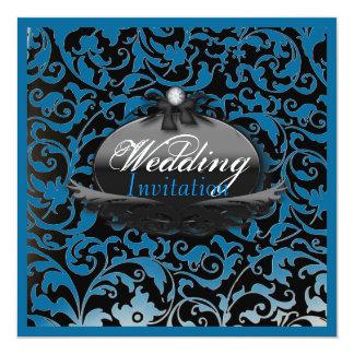 Elegant Royal Blue Damask wedding invitation