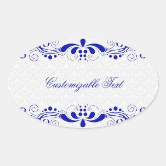 Elegant Royal Blue Floral Lave & White Damasks Oval Sticker