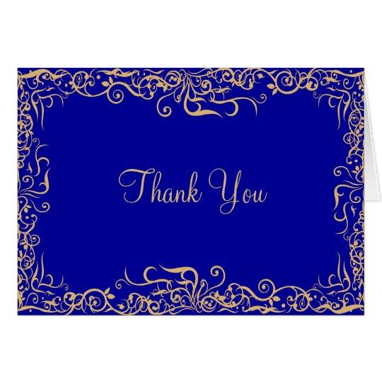 Elegant,Royal Blue,Floral Thank You Card