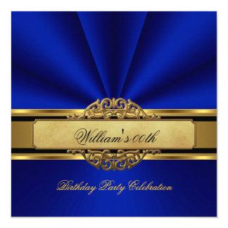Elegant Royal blue Gold Birthday Party Mens Mans 13 Cm X 13 Cm Square Invitation Card