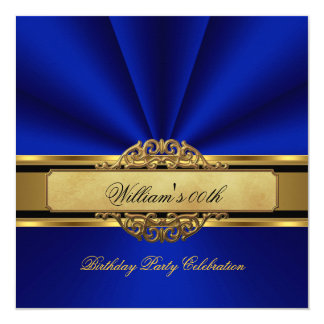 Elegant Royal blue Gold Birthday Party Mens Mans 5.25x5.25 Square Paper Invitation Card