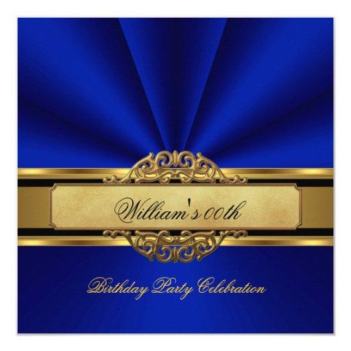 Elegant Royal blue Gold Birthday Party Mens Mans 5.25x5.25 ...