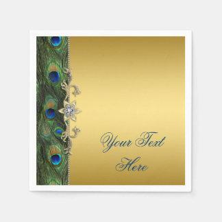 Elegant Royal Blue Green and Gold Peacock Paper Napkins