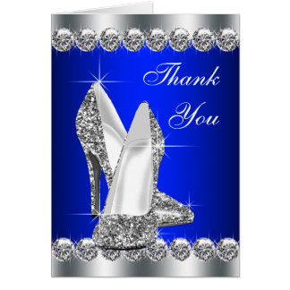 Elegant Royal Blue High Heel Shoe Thank You Cards
