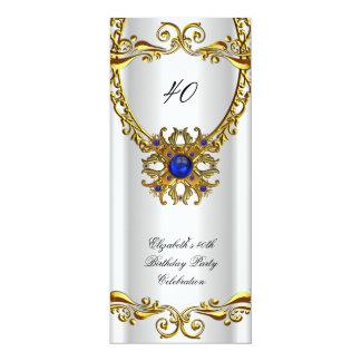 Elegant Royal Blue Jewel Gold Birthday Party 10 Cm X 24 Cm Invitation Card