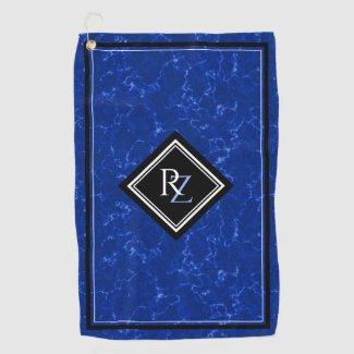 Elegant Royal Blue Marble Black Diamond Monogram Golf Towel