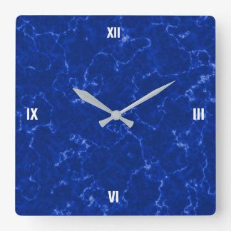 Elegant Royal Blue Marble with White Veins Square Wall Clock