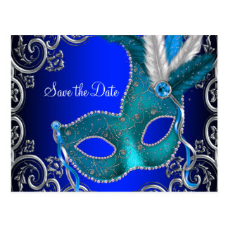 Elegant Royal Blue Masquerade Save The Date Postcard