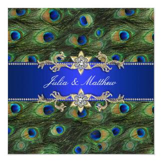 Elegant Royal Blue Peacock Wedding 13 Cm X 13 Cm Square Invitation Card