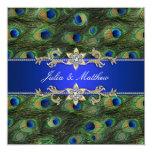 Elegant Royal Blue Peacock Wedding Invite