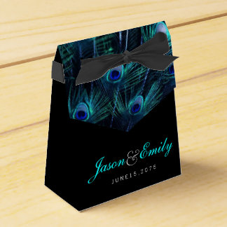 Elegant Royal Blue Peacock Wedding Party Favour Box