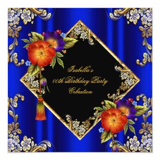 "Elegant Royal Blue Purple Orange Birthday Party 5.25"" Square Invitation Card"