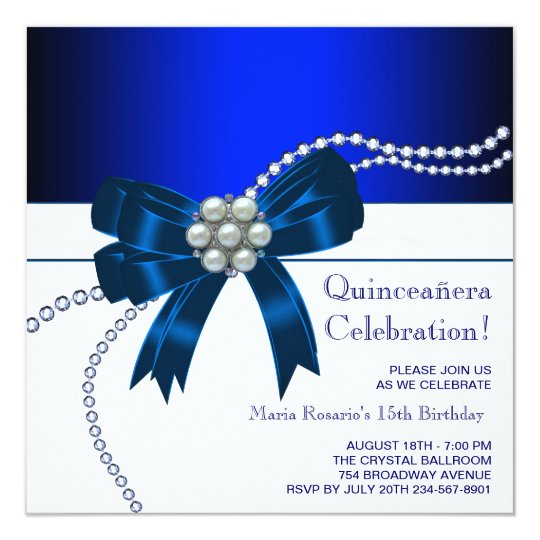 Elegant Royal Blue Quinceanera Invitations