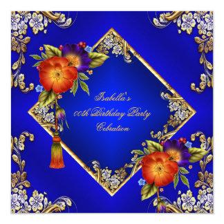 Elegant Royal Blue Red Orange Purple Flowers Party 13 Cm X 13 Cm Square Invitation Card