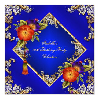 Elegant Royal Blue Red Orange Purple Flowers Party Personalized Announcement