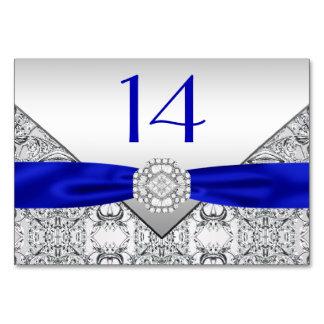 Elegant Royal Blue Silver Wedding Card