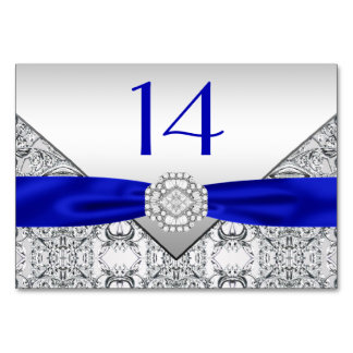 Elegant Royal Blue Silver Wedding Table Cards