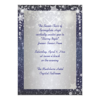 Elegant Royal Blue Starry Night Prom Card