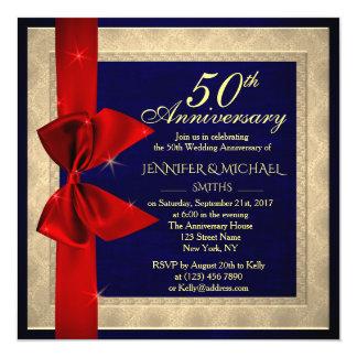 Elegant royal blue wedding Anniversary Invite