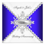 Elegant Royal Blue White 25th Wedding Anniversary 13 Cm X 13 Cm Square Invitation Card