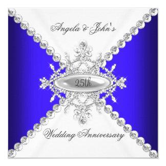 Elegant Royal Blue White 25th Wedding Anniversary 5.25x5.25 Square Paper Invitation Card