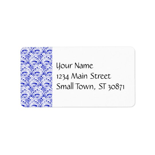 Elegant Royal Blue White Lace Damask Pattern Address Label