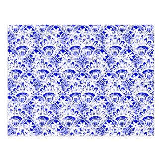 Elegant Royal Blue White Lace Damask Pattern Postcard
