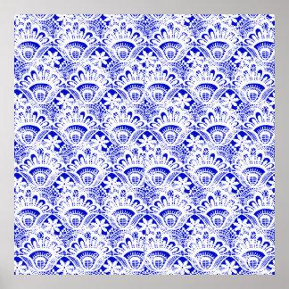 Elegant Royal Blue White Lace Damask Pattern Posters