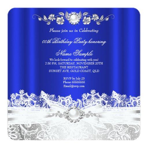 White Birthday Invitations, 500 Royal Blue And White Birthday Invites ...