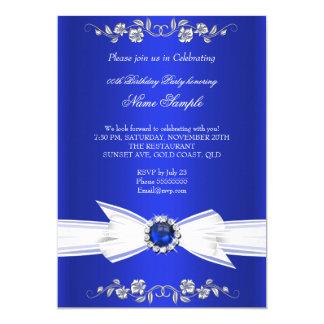 Elegant Royal Blue White Pearl Jewel Bow Birthday 13 Cm X 18 Cm Invitation Card