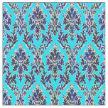 Elegant Royal Damask on Turquoise Fabric