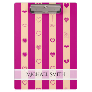 Elegant Royal Fuchsia Stripe Modern Heart Pattern Clipboard