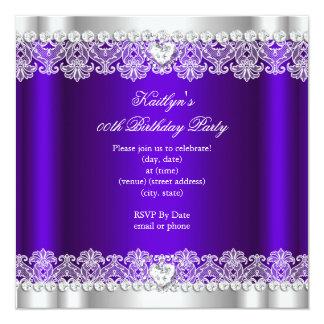 Elegant Royal Purple Lace Silk Birthday Party Card