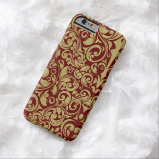 Elegant Royal Red Gold Glitter Damask Floral Barely There iPhone 6 Case