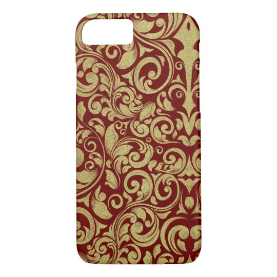 Elegant Royal Red Gold Glitter Damask Floral iPhone 8/7 Case
