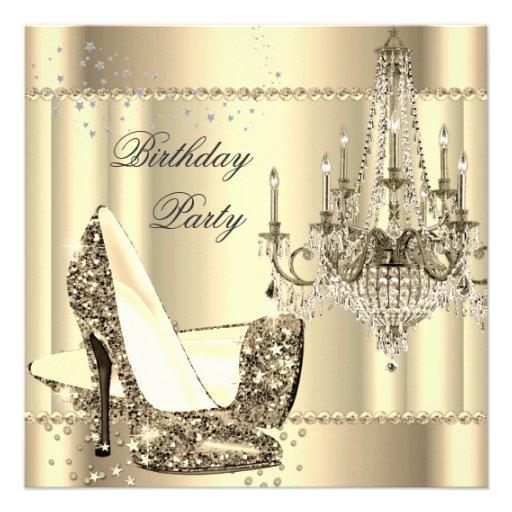 Elegant Royal Sepia Gold Cream Chandelier Party Invitations