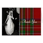 Elegant Royal Stewart Plaid Photo Thank You Card