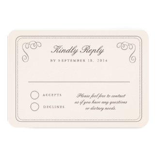 Elegant RSVP 9 Cm X 13 Cm Invitation Card