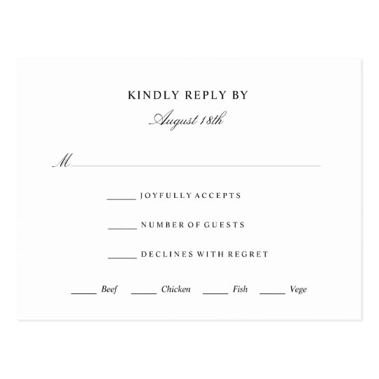 Elegant Rsvp Response Card Wedding Event