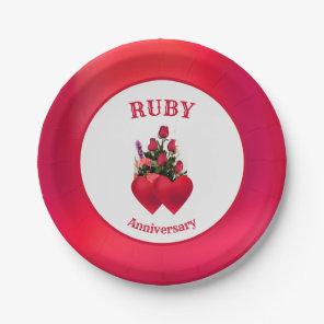 Elegant Ruby Anniversary Paper Plate