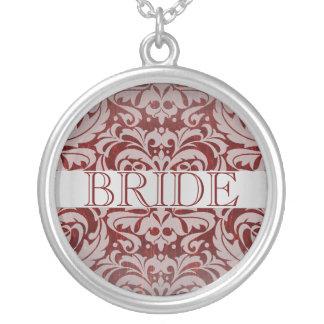 Elegant Ruby Damask Bride Wedding Necklace