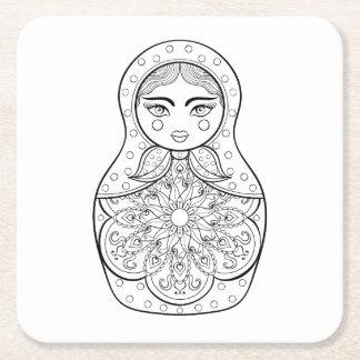 Elegant Russian Doll Square Paper Coaster