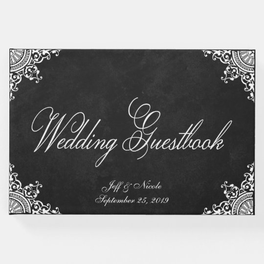 Elegant Rustic Black Chalkboard Wedding Guest Book