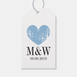 Elegant rustic blue heart wedding favor gift tag