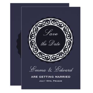 Elegant rustic blue-white wedding Invitation card