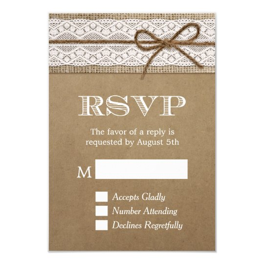 Elegant Rustic Burlap String Bow Wedding RSVP Card