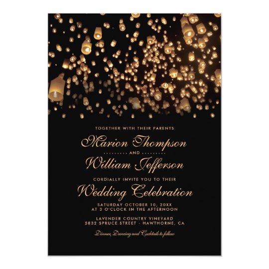 Elegant Rustic Candle Love Wish Lanterns Wedding Card