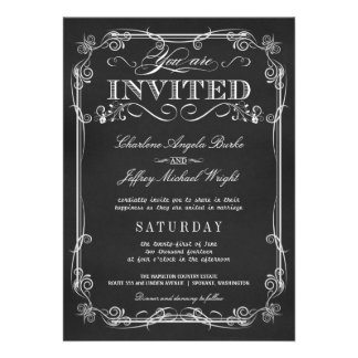 Elegant Rustic Chalkboard Wedding Invitations