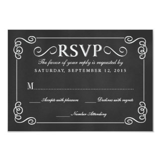 Elegant Rustic Chalkboard Wedding RSVP 9 Cm X 13 Cm Invitation Card