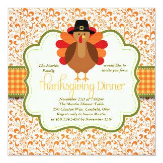 Elegant Rustic Cute Turkey Thanksgiving Dinner Card